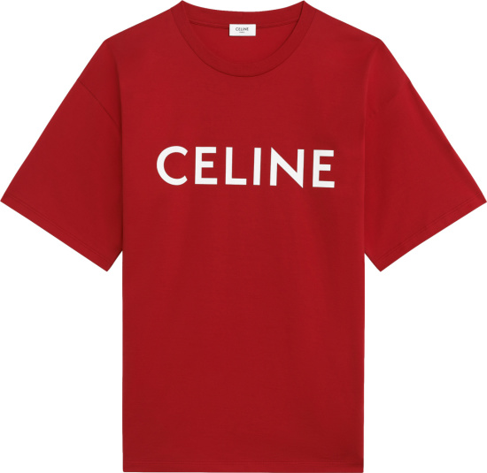 Celine Red And White Logo Print T Shirt