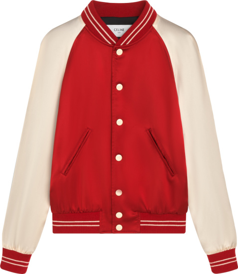 Celine Red And White Satin Varsity Jacket