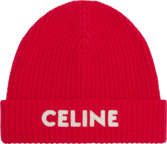 Celine Red Logo Embroidered Beanie