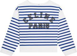 Celine White And Blue Striped Long Sleeve Logo Print T Shirt