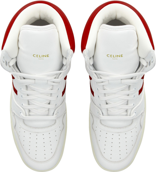 Celine White And Red High Top Break Sneakers