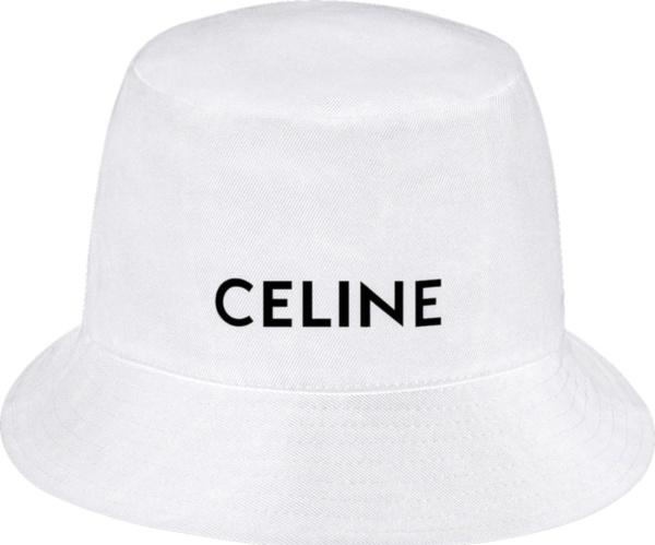 Celine White Cotton Black Logo Print Bucket Hat 2au5b123n 01bc