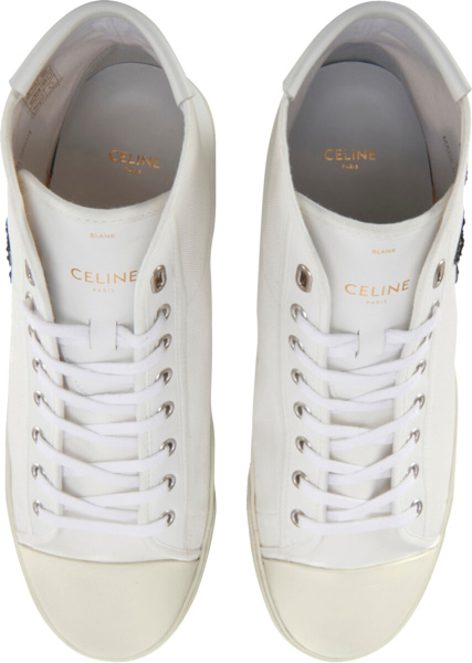 Celine White High Top Sneakers With Blank Patch