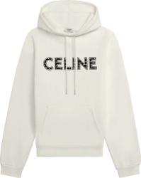 Celine White Studded Logo Hoodie 2y323052h 01ob