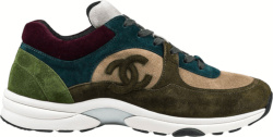 Chanel Dark Green Blue Beige Suede Sneakers G33862