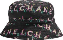 Chanel Black And Neon Logo Print Bucket Hat