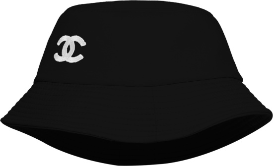 Chanel Black And White Cc Logo Cotton Bucket Hat