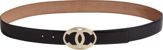 Chanel Black Gold Tone Cc Oval Belt