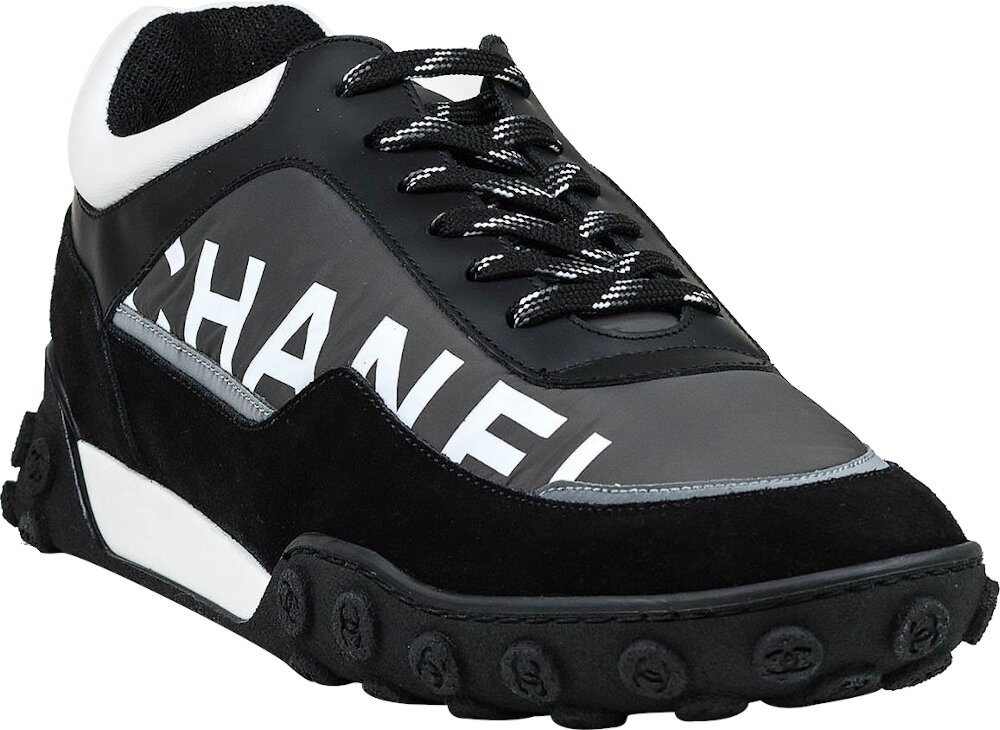 Chanel Black Nylon And Suede Sneakers