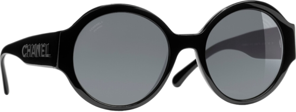 Chanel Black On Black Round Sunglasses