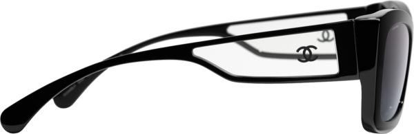 Chanel Black Rectangle Cat Eye Sunglasses