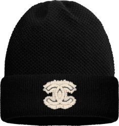 Chanel Black Tweed And Cashmere Cc Patch Beanie