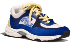 Chanel Blue And White Withyellow Lace Sneakers Worn By Pnb Rock