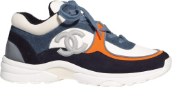 Chanel Blue Navy White Suede Sneakers