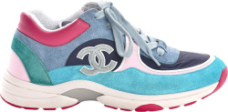 Chanel Blue Turquoise And Pink Sneakers