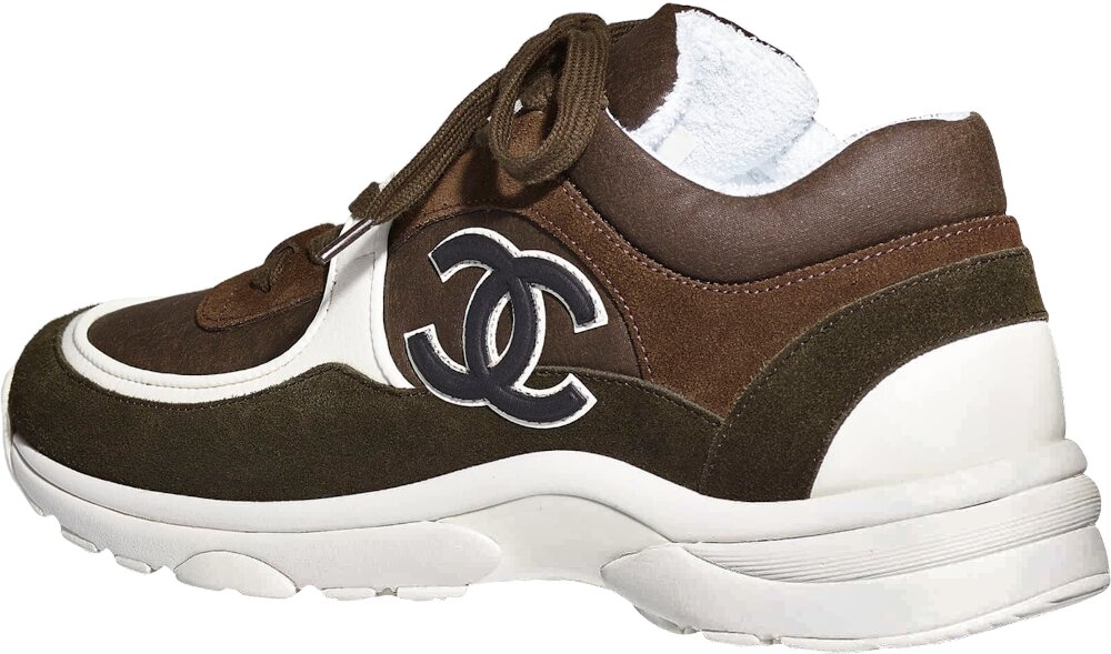 Chanel Brown And Olive Velvet And Suede Sneakers