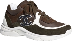 Chanel Dark Green And Brown Suede Sneakers