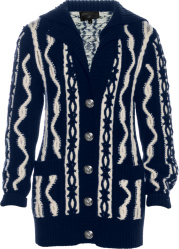 Navy & White Barbed-Wire Cardigan