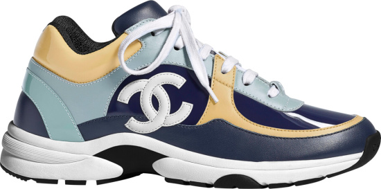 Chanel Navy Light Blue And Yellow Patent Sneakers