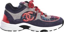 Chanel Navy Red Grey Suede Tweed Sneakers