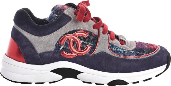 Chanel Navy Red Grey Suede Tweed Sneakers