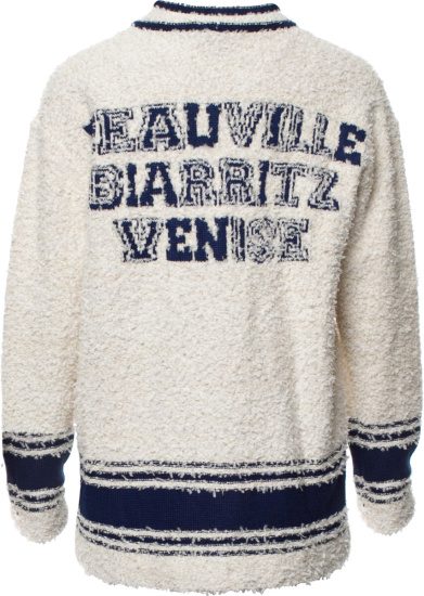 Chanel Prefall 19 Ivory Blue Collegiate Cardigan