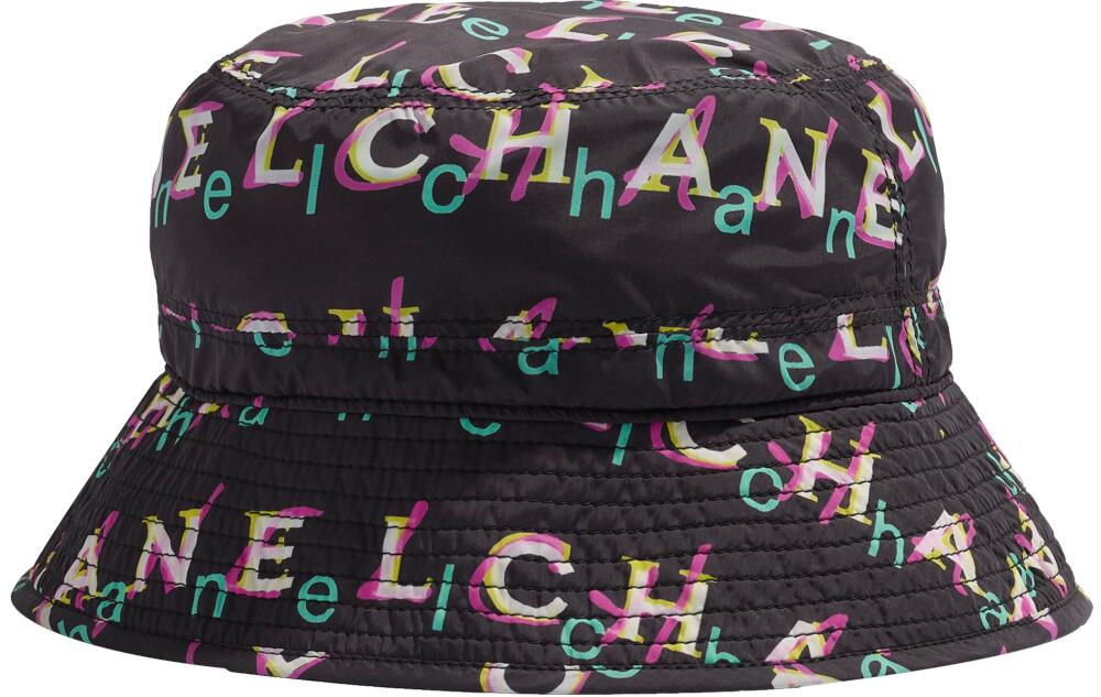 Chanel Ss19 Black Bucket Hat With Allover Logo Print
