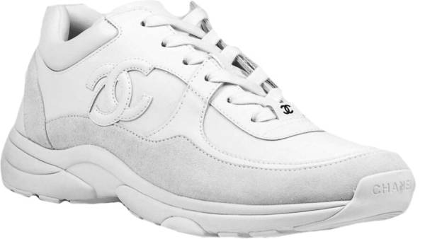 Chanel Triple White Leather Suede Sneakers