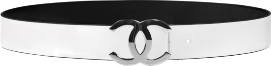 Chanel White And Black Reversible Cc Belt
