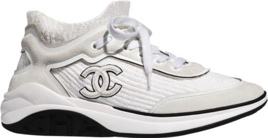 Chanel White Grey Suede Velvet Cc Sneakers