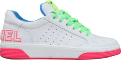 Chanel White Neon Pink Neon Green Leather Sneakers