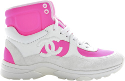 Chanel White Pink High Top Sneakers