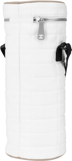 Chanel White Quilted Bottle Bag