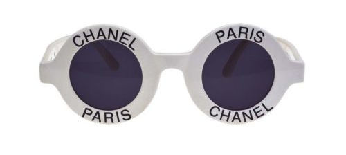 Chanel White Round Sunglasses With Paris And Chanel Print Worn By Takeoff
