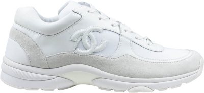 Chanel White Triple Suede Leather Sneaker