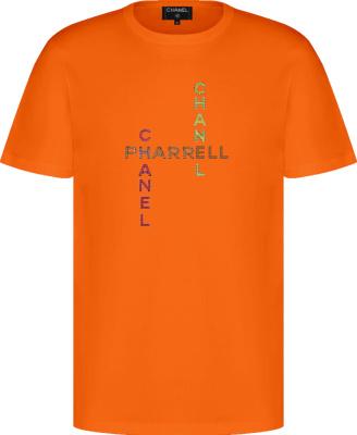 Chanel X Pharrell Orange Logo Embellished T Shirt