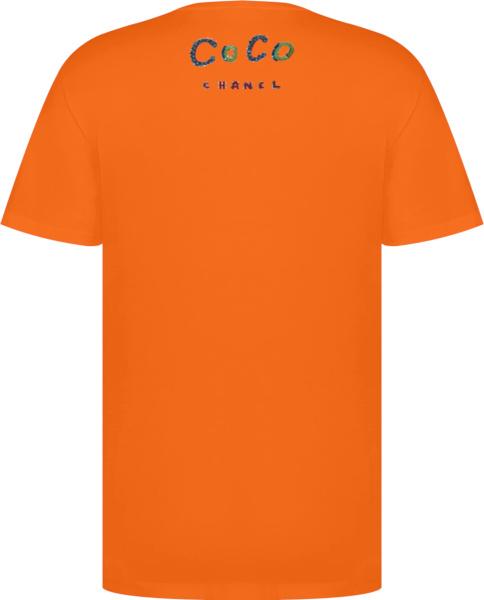 Chanel X Pharrell Sequin Crystal Logo Orange T Shrit