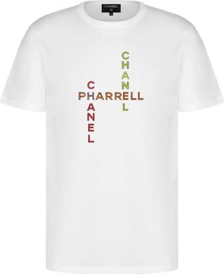 Chanel X Pharrell White Crystal Embellished T Shirt