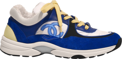 Chanel Yellow And Blue Suede Sneakers