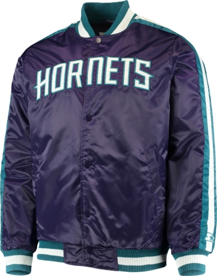 Charlotte Hornets Purple Satin Bomber Jacket