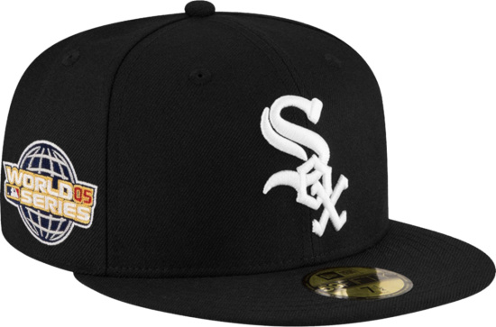 Chicago White Sox 2005 World Series Patch Fitted Hat With Pink Underbrim