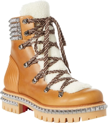 Chiristian Louboutin Brown Leather Studded Yeti Boots