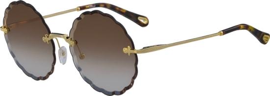 Chloe Rosie Rimless Scalloped Sunglasses