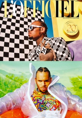 Chris Brown Poses For L Officiale In Louis Vuitton Cartoon Sunglasses Box Bag Inflatable Puffer Psychedelic T Shirt