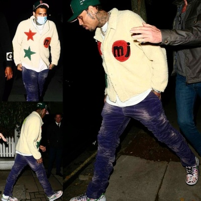 Chris Brown Wearing A Cpfm X Marc Jacobs Sherap With Mjb Pants And Nike Air Force 1s