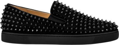 Christian Black Velour Roller Boat Sneakers