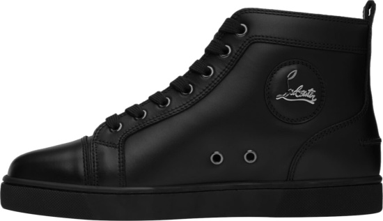 Christian Louboutin Black Leather High Top Sneakers