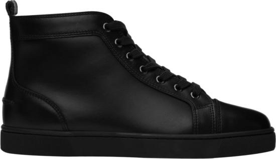 Christian Louboutin Black Leather Louis Flat Sneakers