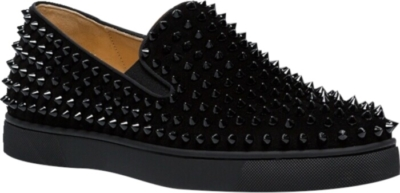 Christian Louboutin Black Studded Slip Ons