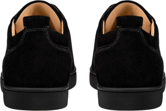 Christian Louboutin Black Velour Louis Junior Spikes Flat Sneakers